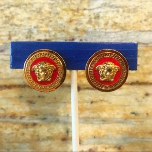 Versace Jewelry - Versace Medusa Red Clip on Earrings